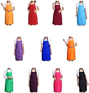 Total 11 PCS Plain Color Bib Apron Adult Women Unisex Durable Comfortable with Front Pocket Washable For Cooking Baking Kitchen Restaurant crafting
