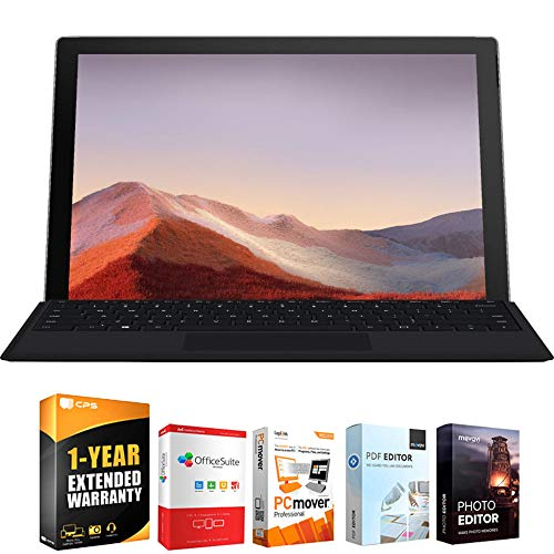 Microsoft QWU-00001 Surface Pro 7 12.3' Touch Intel i5-1035G4 8/128GB Platinum Bundle with Elite Suite 18 Software (Office Suite Pro, Photo Editor, PDF Editor, PCmover Pro) + 1 Year Extended Warranty