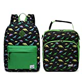VASCHY Cute Preschool Backpack and Insulated Lunch Bag Dinosaurs Bundle