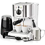 7 Pc All-in-One Espresso & Cappuccino Maker Machine Barista Bundle Set w/Built-in Steam Wand (Inc: Coffee Bean Grinder, Portafilter, Frothing Cup, Spoon w/Tamper & 2 Cups) (White)