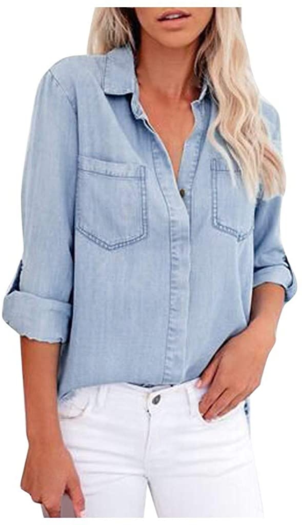 YMADREIG Women's Casual Long Sleeve Light Color Denim Tops Lapel Jacket Casual Loose Shirts Button Blouse with Pocket