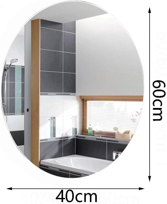 Mirror-Bathroom mirror, Home Wall mirror, European Oval mirror Frameless HD Silver mirror 5mm Thick (Size   40  60CM)