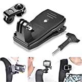 Fantaseal 3in1 Anti-Slide 360 Degree Rotary Action Camera Clamp Mount Kit Waterproof Motion Camcorder Backpack Strap Clip Holder Rec-Mount Compatible with GoPro Sony DJI OSMO Action Akaso Sports DV