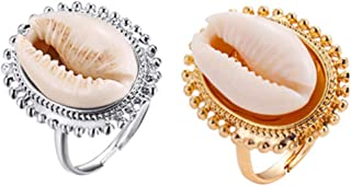 Aineecy Cowrie Shell Rings Adjustable Natural Conch Shell Open Index Finger Rings for Women Girls Fashion Summer Beach Jewelry 2Pcs/Set