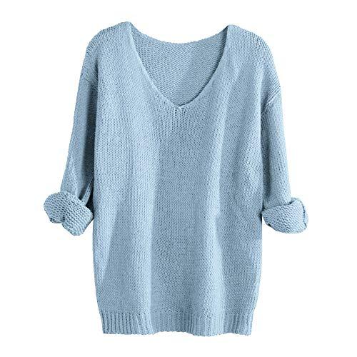 Xmiral Damen Pullover Häkeln V-Ausschnitt Langarm Pure Color Strick Tops Sweatshirt (M,Hellblau)