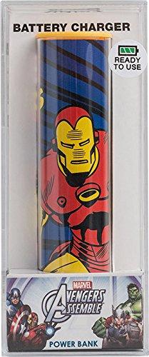 Tribe PB016304 2600 mAh Batterie Externe de secours Universal Smartphone Chargeur Motif Disney Marvel The Avengers Iron Man