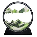 Muyan Moving Sand Art Picture Sandscapes in Motion Round Glass 3D Deep Sea Sand Art for Adult Kid Large Desktop Art Toys Moving Desktop Art for Home Decor and Office Party Creative Toy (Green, 12inch)