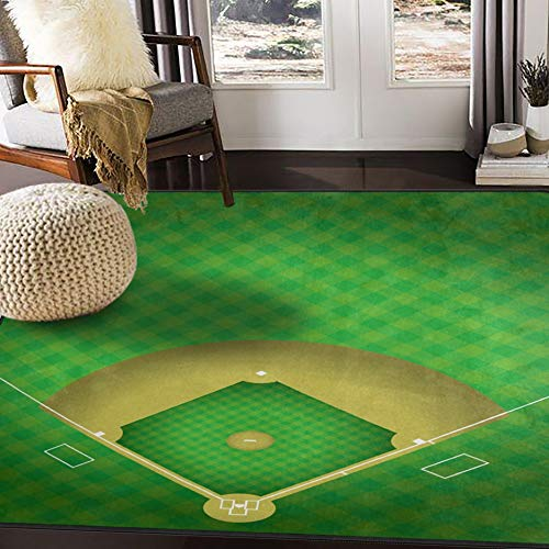 ALAZA Baseball Field Green Sport Area Rug Rugs for Living Room Bedroom 7' x 5'