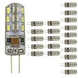 Mengjay 20x Bombilla LED G4 cuentas 1.5 W, CA 220V, 24 SMD 3014 LED 360 °, blanco frío 6000 K bombillas LED, G4, 1.5 W, 220.00 V