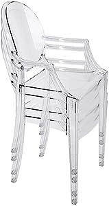 chairs4you Lot de 4 chaises Transparentes Fauteuil Cristal Inspires Louis Ghost sejour Salle a Manger Dressing Bureau