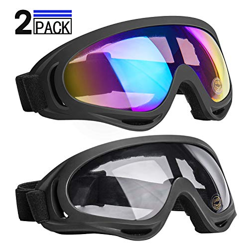 NONMON Skibrille,2Pcs Sportbrille Motorradbrille Kinder Damen Herren,UV400 Anti-Fog Windbeständig Blendschutz Staubdicht Gläser,für Ski Snowboard Wandern Radfahren Outdoor Sport