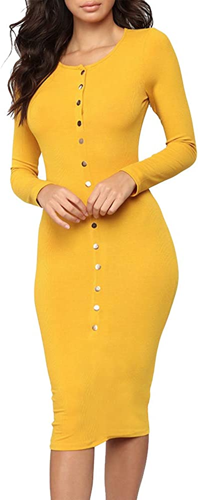 CONRUSER Women's Long Sleeve Pullover Knit Sweater Dress, Solid Color Button Slim Casual Bodycon Mini Dress