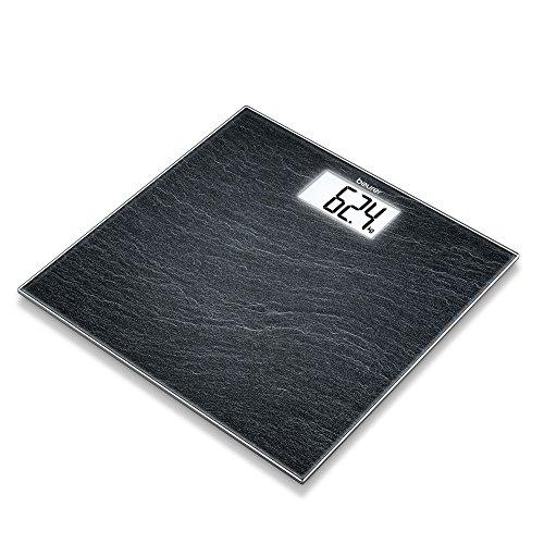 Beurer GS 203 Slate, Glaswaage in Schieferoptik, extra große LCD-Anzeige, 150 kg Tragkraft