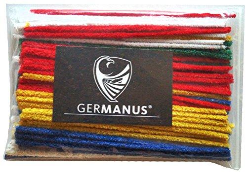 GERMANUS Pfeifenreiniger 100 Stück in Bunt, Rot, Gelb, Blau, Grün, Weiß, Chenilledraht Biegeplüsch zum Basteln und Dekorieren für Kinder und Erwachsene