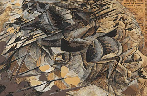Aluminum Metal Sign for tin Signs 16x12in,Umberto Boccioni Famous Paintings(Lancer Charge),Iron Painting Wall Decor for Cafe Bar Pub Home Decoration Crafts