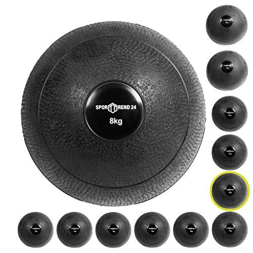Sport Trend 24Slam Ball 2–20kg en Negro PVC–Balón Medicinal Peso–Pelota Fitness No Bounce, Color Negro, tamaño 8 kg, 9.06 x 9.06 x 9.06inches
