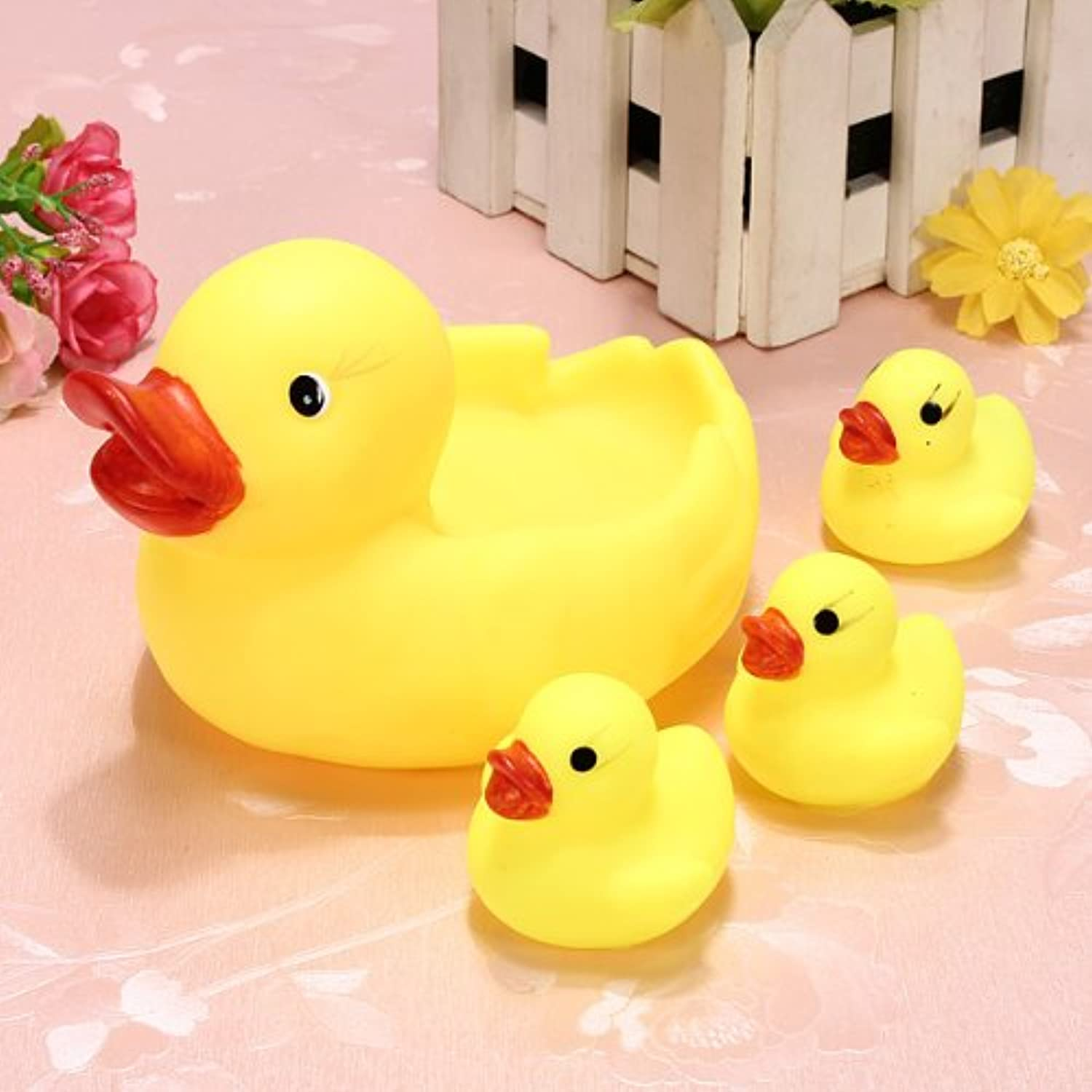 Rainbowkids a set of 4 Pcs new arrival child Baby Bath Toys ,Water Floating Squeaky Yellow Rubber Ducks,speical gifts for child&baby. by rainbowkids