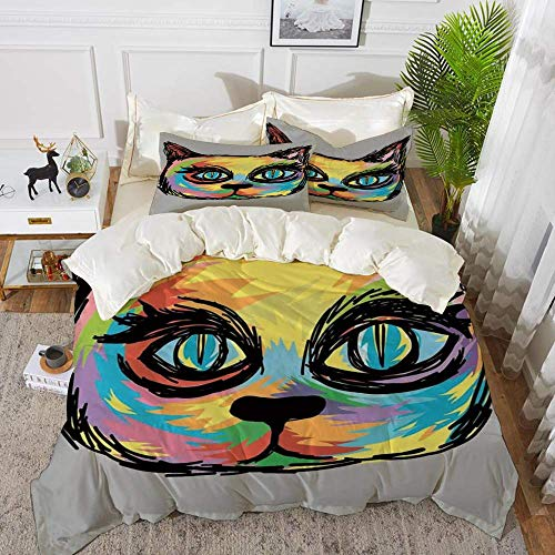 Cat Lover Decor,Colorful Dark Paint of a Cute Cat Head with Big Sketchy Eyes Unique Cre,Hypoallergenic Microfibre Duvet Cover Set 200 x 200cm with 2 Pillowcase 50 X 80cm