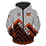 Photo de Kasonj NFL Sweat à Capuche à Manche Longue de Football Américain pour Unisexe - Sweat zippé avec Logo en Jersey(Cincinnati Bengals L)