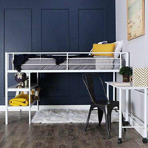 We Muebles Twin Loft Cama con Escritorio y estantes, Negro, Metal, Blanco, Cama Individual