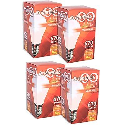 LED Light Bulb - 9W BrightBulb LED LightBulbs A19, High Efficiency, 10-Year Guarantee, Warm White (9W = 60-75W Traditional)