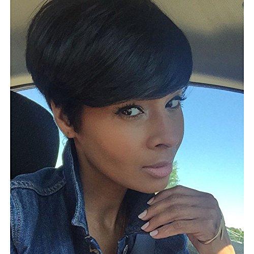 Perruque courte synthétique noire pour femme noire, résistante à la chaleur, coupe Pixie