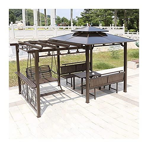 Home Equipment Gazebo permanente para césped de patio Gazebo de patio con silla de columpio y escritorio Toldo al aire libre Gazebo Villa Garden Gazebo Estante de uva para patio Juego de muebles de