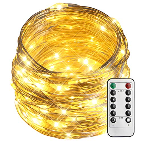 esLife 100LED 36ft String Lights 8 Modes Battery Operated Twinkle Light Dimmable with Remote and Timer Perfect for Indoor Outdoor Home Wedding Party Decoration (Waterproof, Warm White)