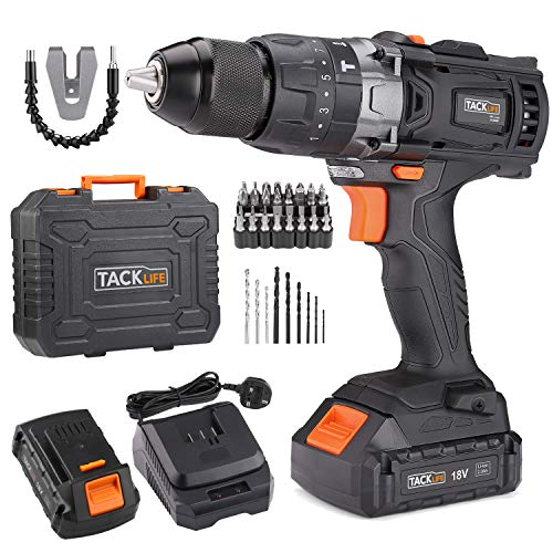 Cordless Drill 35N.m, 18V/20V-MAX 2.0Ah Combi Drill, LED Light 2 Speeds 16+3 Torque Hammer Drill, 43 Pcs Bits, 1/2' Metal Chuck Power Electric Drill TACKLIFE PCD04B