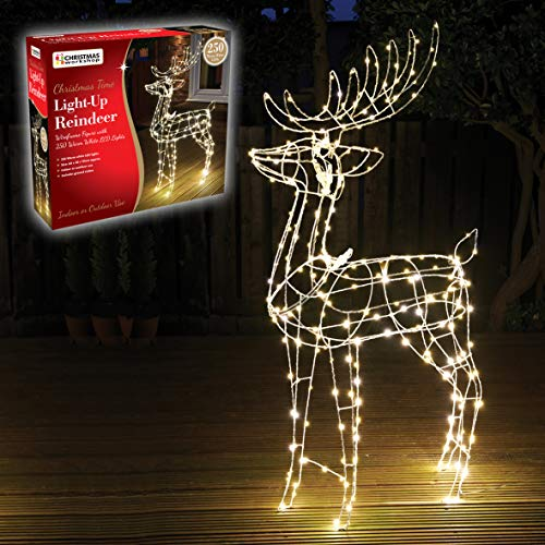The Christmas Workshop 70409 Light-Up Reindeer | Outdoor Christmas Wireframe Figure with 250 Warm White LED Lights | Mains Operated | 115cm x 60cm x 20cm