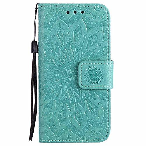 Custodia iPhone 5, Cover iPhone SE / 5, Dfly Premium PU Goffratura Mandala Design Pelle Chiusura Magnetica Protettiva Portafoglio Custodia Super Sottile Flip Cover per iPhone 5 / 5S / SE, Verde