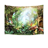 HVEST Fairy Tale Forest Tapestry Wall Hanging Magic Mushroom and Trees Wall Tapestry Spring Scenery Tapestry for Kids Girls Bedroom Living Room Dorm Party Decor,60Wx40H inches