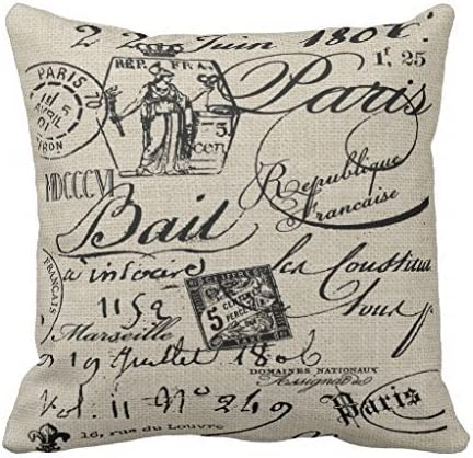 Throw Pillow Covers French Script Cheap sale Doub Protector Finally popular brand and Soft