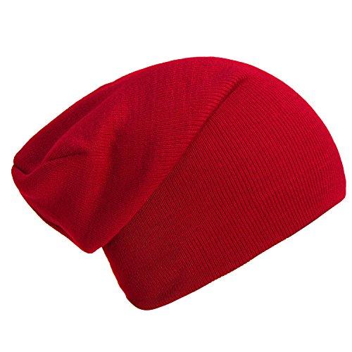 DonDon Wintermütze Mütze klassische Slouch Beanie one Size - Rot