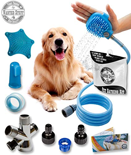 Wantedstuff 3 in 1 Pet Shower Kit with Free Dental Finger Brush | Dog Shower Sprayer, Adjustable Bath Glove, Clean, Massage & Remove Hair | Shower Attachment for Indoor & Outdoor Use | Pet-Friendly