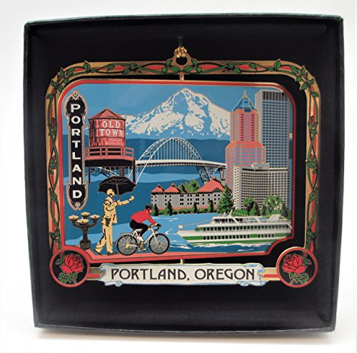 Portland Oregon Brass Ornament Black Leatherette Gift Box