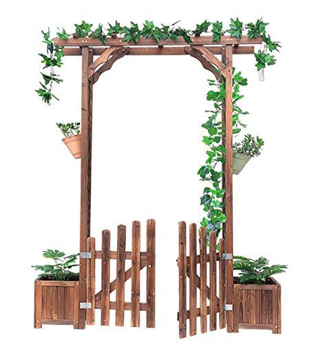 Arco de Rosas de Jardín Pérgola para Jardin con 2 Jardines Arco de Jardin para Plantas Arco para Rosas Arco de Flores para Jardín Patio Terraza Madera de Pino Verde - 172X41X220cm