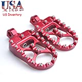 CNC Wide Fat Footpegs 360° Roating MX Foot Pegs Chopper Bobber Style For Harley Dyna Fatboy Sportster Iron 883 (Red)