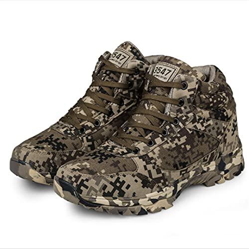 RatenKont Zapatos Militares tácticos Combate del ejército algodón Lana cálida Camuflaje para Hombre Botas Nieve al Aire Libre del Tobillo Camouflage 4