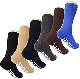 Diabetic Non Skid Slipper Socks/w Grippers for Men - 6 Pairs