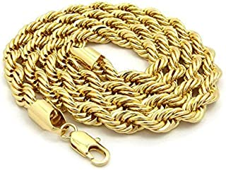 Dubai Collections Rope Chain 7MM 24K Diamond Cut Jewelry Necklaces Made to Wear Alone/W Pendants Guaranteed for Life