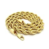 Dubai Collections Rope Chain 7MM 24K Diamond Cut Jewelry Necklaces Made to Wear Alone/W Pendants Guaranteed for Life (22)