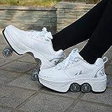 ZZ Inline-Skate Rollschuh Roller Skates Lauflernschuhe,Sneakers,2in1 Mehrzweckschuhe Schuhe Mit Rollen Skateboardschuhe,Inline-Skate,Verstellbare Quad-Rollschuh Stiefel Skateboardschuhe,White-EU34