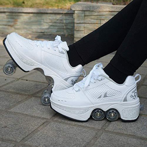 ZZ Inline-Skate Rollschuh Roller Skates Lauflernschuhe,Sneakers,2in1 Mehrzweckschuhe Schuhe Mit Rollen Skateboardschuhe,Inline-Skate,Verstellbare Quad-Rollschuh Stiefel Skateboardschuhe,White-EU39