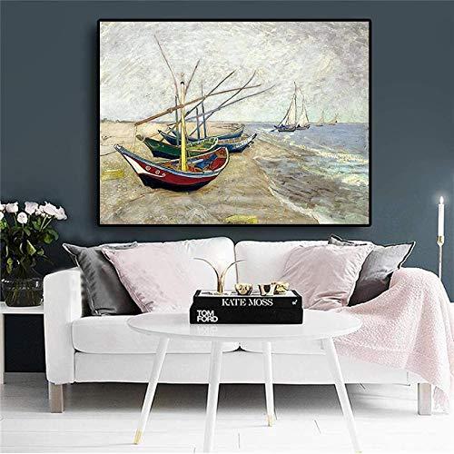 Crazystore Estilo nórdico 70x80cm sin Marco Van Gogh Barcos de Pesca Saintes Maries en Carteles e Impresiones Imagen de Arte de Pared para la decoración del hogar de la Sala de Estar