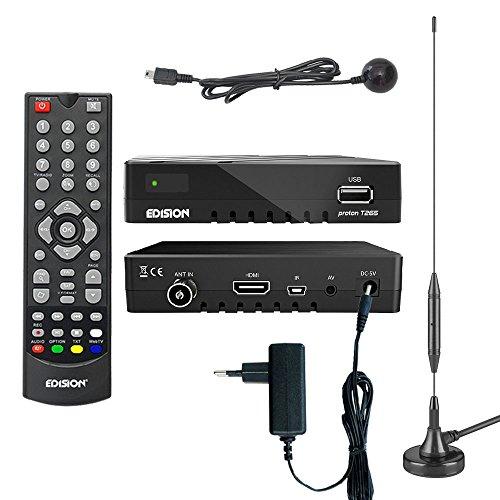 Edision proton T265 Full HD Hybrid DVB-T2 Kabel-Receiver FTA HDTV DVB-C/DVB-T2 H.265 HEVC inkl. 30cm passiver Stabantenne