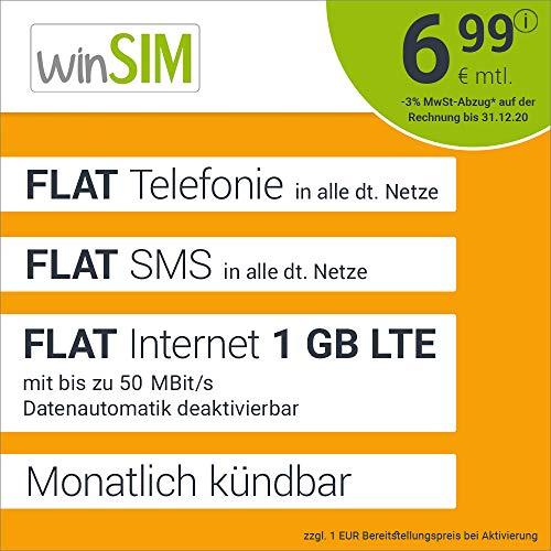 Handyvertrag winSIM LTE All 1 GB Allnet Flat - monatlich kündbar (FLAT Internet 1 GB LTE mit max 50 MBit/s mit deaktivierbarer Datenautomatik, FLAT Telefonie, FLAT SMS und EU-Ausland, 6,99 Euro/Monat)