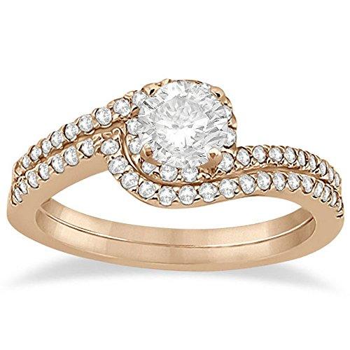 Halo Twist Diamond Bridal Set Engagement Ring and Wedding Band For Women 18k Rose Gold (0.28ct) (0.28 Ct Pink Diamond)