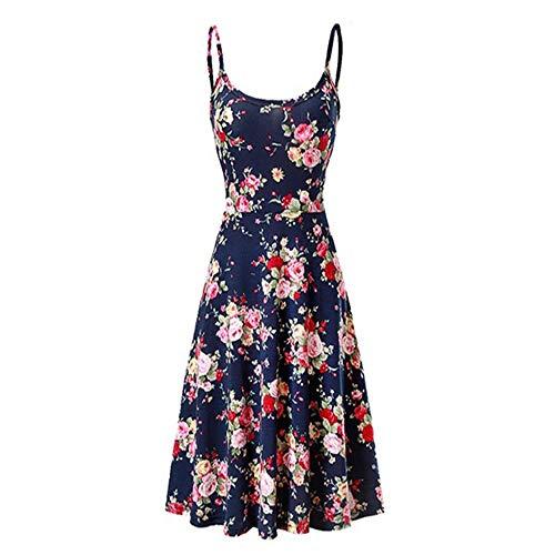 Seamido Sommerkleid Damen Knielang Ärmelloses Swing Kleid Blumen Spagettiträger Strandkleid