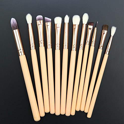MEISINI Maquillage pinceau fard à paupières eye-liner pinceau crayon fondation ombre à paupières pinceaux de maquillage ensemble maquillage, 12 pcs rose